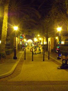 French Quarter Pool Entrance at night